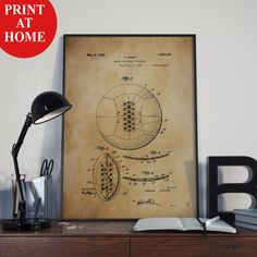 Soccer Ball Patent Art Print-Old Football Poster-Patent Prints-Patent Poster-Printable Wall Art-Man Cave Decor-Boyfriend Gift-Husband Gift