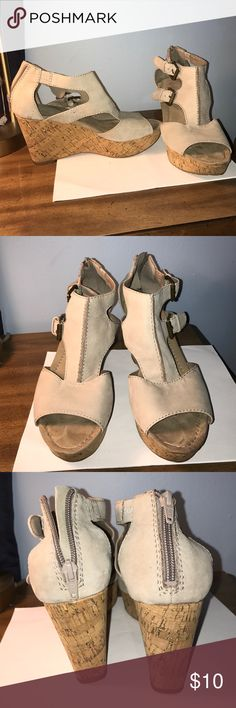 Nine West Cork Wedges Great buy! Super comfy beige wedges go with nearly everything. The sole of shoes show a little signs of wear, but you won't see that once your foot is in it! Fit true to size with a 3.5 inch heel and ~1 inch platform ‼️All orders ship next day Nine West Shoes