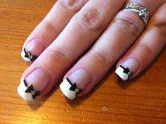 Ok sis--so for the wedding French manicure with white tips and then a thin line of black. And then this little bow with a gem in the middle on the accent nail ONLY. Perf!