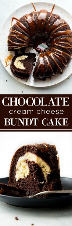 This chocolate cream cheese bundt cake is moist, rich, and decadent and is finished off with delicious salted caramel sauce! EASY recipe on sallysbakingaddiction.com