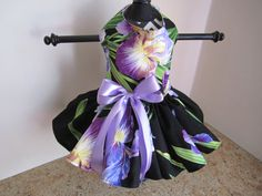 Dog Dress XS Black with Lavender flowers by NinasCoutureCloset