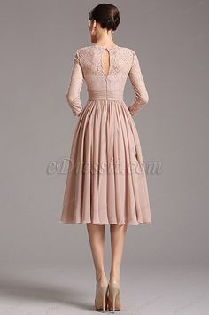Rosy Brown Tea Length Cocktail Dress with Lace Sleeves Elegant Dresses, Nice Dresses, Prom Dresses, Tea Length Cocktail Dresses, Cute Dresses For Party, Maid Dress, Going Out Dresses, One Piece Dress, Embellished Dress