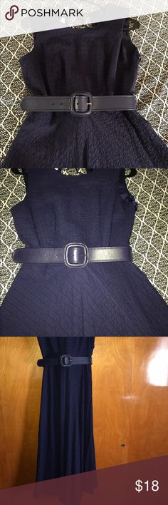 Navy midi Beautiful navy flowy midi comes with belt, only worn once Dresses Midi
