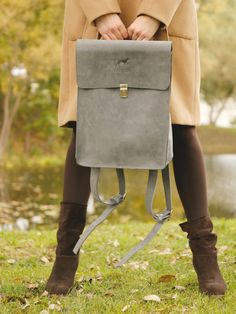 Grey genuine leather backpack, leather rucksack, grey genuine leather rucksack