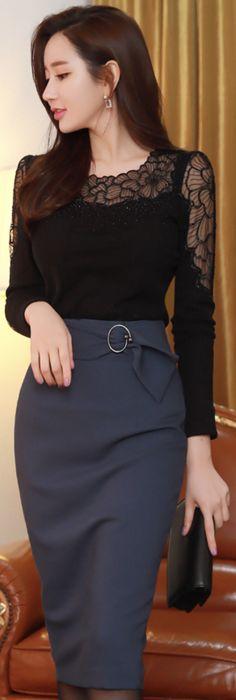 StyleOnme_Slim Fit Circle Buckle Pencil Skirt #navy #pencilskirt #chic #koreanfashion #kstyle #kfashion #feminine #winterlook