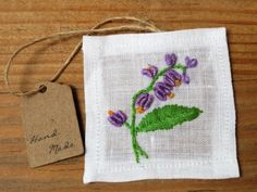 Hand embroidered patch flower pattern purple by CharmingPocket