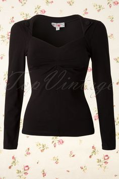 Miss Candyfloss - 50s Aubree Long Sleeve Stretch Top Black