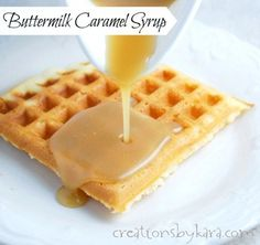 This Caramel Buttermilk Syrup is the best thing that's happened to breakfast since sliced bread. It is life changing. So yummy on waffles, pancakes, and French toast!