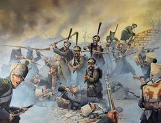 Battle of Leipzig:  French (foreground) try to repel Russians (by Mark Stacey)