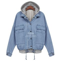 Miss DPO fallwinter new products womens 2012 large Korean hooded detachable two piece set denim Jacket Women