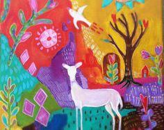 Hola aves Original pintura arte popular por evesjulia12 en Etsy