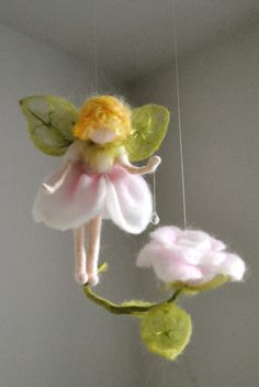 Flower Fairy Mobile Waldorf Inspired Needle Felted : by MagicWool