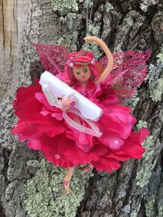 Ballerina flower fairy with wish scroll by WishFairiesCreations