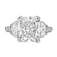 5.01 Carat Cushion-Cut Diamond Engagement Ring | From a unique collection of vintage engagement rings at http://www.1stdibs.com/jewelry/rings/engagement-rings/