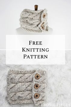 Grab this FREE Friendship Cowl Knitting Pattern. This cozy cable cowl is knit flat with buttons. Designer Knitting Patterns, Baby Knitting Patterns, Free Knitting, Crochet Patterns, Knitting Ideas, Designer Knitwear, Knitting Projects, Cable Cowl, Cable Knit Hat