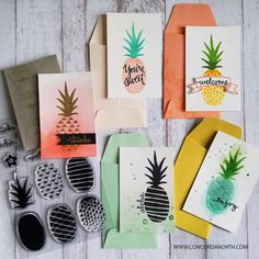 Pop Art Pineapple stamp set by Concord & 9th, also found in Paper Source!