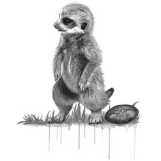Prints for Nurseries, Wizard Illustrations, Meerkat Football on 300gsm cotton rag paper, limited edition print of 50. Available in A3 & A4 #prints #printsfornurseries