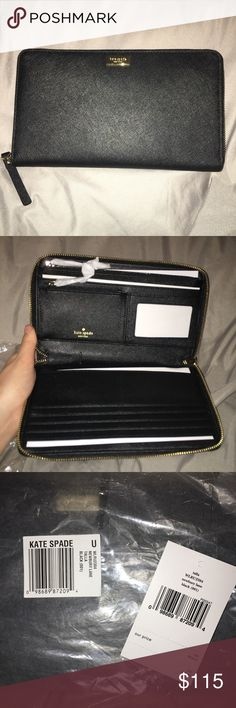 NWT Kate Spade Newbury Lane Talla Black Brand new, with tags. Only taken out of plastic packaging for these photos. 100% authentic, received as a birthday gift from my mother. Originally $198 plus tax.   Large travel wallet/clutch. kate spade Bags Wallets