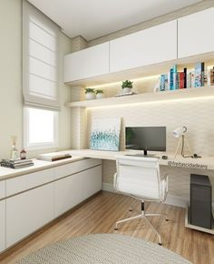Trendy home office planned - Trendy home office planejado Trendy home office planned Mesa Home Office, Home Office Setup, Home Office Space, Home Office Desks, Office Chic, Office Interior Design, Office Interiors, Small Home Offices, Small Room Bedroom