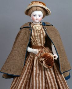 "Exemplary 13"" Early Jumeau French Fashion Poupee C. 1875 With Bisque Arms Size 1 Antique Doll"