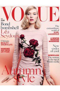 *Love* this feminine cover on Vogue UK's November, 2015 issue @voguemagazine   Lea Seydoux British Vogue Cover Bond Girl November Issue