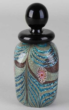 Murano glass perfume bottle, design by Franco Moretti (signed) in shades of blue / green / gold. Sold for on Jan 2019 Rachel Hurd Wood, Blue Bottle, Italian Art, Bottle Design, After Shave, Murano Glass, Paper Weights, Shades Of Blue, Glass Art