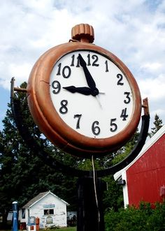 Paul Bunyan can get home on time, this is a large version of his pocketwatch. Lake Bemidji, Bemidji, Minnesota