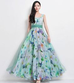 SALE Bohemian Green Blue Floral Print Tulle Chiffon by ChineseHut, $159.00