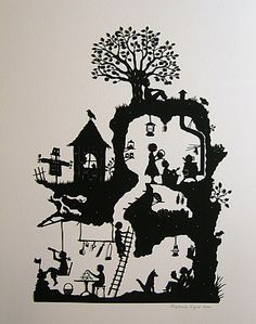 A heap of time has gone in to this. Beautiful paper cutting of a Jan pienkowski illustration. Kirigami, Illustration Art, Illustrations, Silhouette Art, House Silhouette, Shadow Puppets, Paper Cutting, Cut Paper, Graphic
