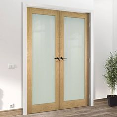 Walden Real American Oak Veneer Door Pair with Frosted Safety Glass, Unfinished