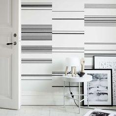 10 Striped Wallpaper Design Ideas - Bright Bazaar by Will Taylor Striped Wallpaper Design, Designer Wallpaper, Print Wallpaper, Pattern Wallpaper, Hallway Wallpaper, Black And White Wallpaper, Black White, Designers Guild, A Boutique