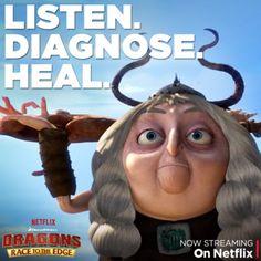 "Gothi is Berk's finest healer. Watch her healing magic on Fishlegs in the ""Big Man on Berk"" episode, now streaming on Netflix. #DreamWorksDragons"
