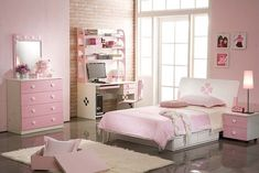 kinderzimmer mädchen rosa weiß möbel set