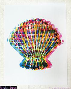 CMYK FanShell  Art Print  for KIVA  8x10 by by SchatziBrown, $15.00