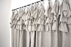 A linen curtain with a ruffled top with an industrial chic look, very unique item that works perfectly in an industrial chic decor. The curtain Linen Curtains, Linen Fabric, Valance Curtains, Industrial Chic Decor, Devine Design, Ruffle Top, Home Living Room, Kitchen Accessories, Tops