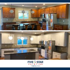 Cabinet painting is a great way to transform your kitchen without doing a complete remodel. Brighten up your kitchen today with our #loudounlocal painting professionals. #transformationthursday #fivestarpaintingloudoun #loudounpainters #professionalpainters