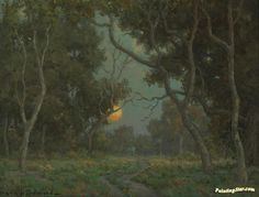 Early Moon Artwork by Granville Redmond Hand-painted and Art Prints on canvas for sale,you can custom the size and frame