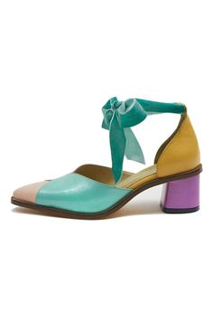 81acb9716a64 Pump with ankle strap in aqua velvet ribbon