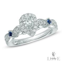 I think this might just be my fav. Pear shaped diamind, sapphire accents, Vera Wang at zales, 25 around the corner.