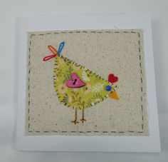Handmade fabric card chicken card blank card novelty