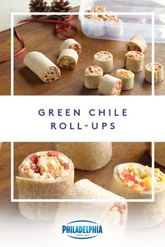 Hold these red pepper-studded Green Chile Roll-Ups together with creamy Neufchatel cheese. These Green Chile Roll-Ups are great for after school! Mexican Food Recipes, Keto Recipes, Cooking Recipes, Cheesecake Recipes, Appetizer Dips, Appetizer Recipes, Snack Recipes, Party Snacks, Appetizers For Party