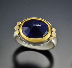 Rose Cut Iolite Ring: Ananda Khalsa: Gold, Silver, & Stone Ring - Artful Home