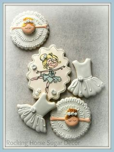 Rocking Horse Sugar Decor: ballerina theme decorated cookies. Stamp by Whimsy Stamps design by Drawn with Character. Cutest set ever!