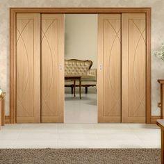 Quad Telescopic Pocket Pesaro Oak Veneer Door - Prefinished.    #flushdoors #pesarodoors #internaldoors #pocketdoors #telescopicdoors #interiordoor #moderndoors #hiddendoors #doors #interiordesign #doors #oakdoors