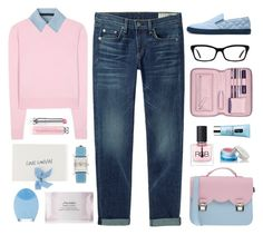 """""""Pink Friday - Winter Pastels"""" by celida-loves-pink ❤ liked on Polyvore featuring La Cartella, Miu Miu, Karl Lagerfeld, rag & bone/JEAN, RGB Cosmetics, Lanvin, Givenchy, FOREO, Shiseido and Hermès"""