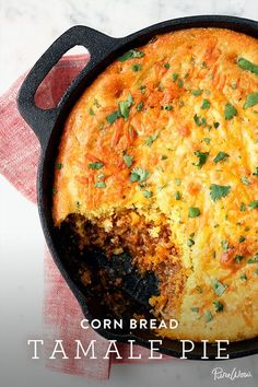 Tamale Pie Corn Bread Tamale Pie via PureWow (sub in ground meatless for the ground beef that the recipe suggests)Corn Bread Tamale Pie via PureWow (sub in ground meatless for the ground beef that the recipe suggests) Iron Skillet Recipes, Cast Iron Recipes, Skillet Dinners, Mexican Dishes, Mexican Food Recipes, Mexican Desserts, Spanish Recipes, Mexican Tamales Recipe Beef, Mexican Pie