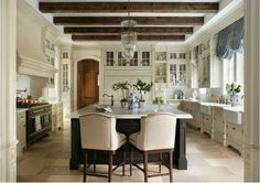Inspiration! Beamed ceiling kitchens are beautiful, but also solve design dilemmas. See how, today, on Hadley Court!
