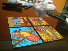 Madhubani coasters. Four done. Two to go