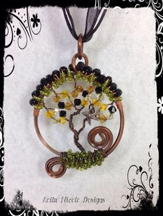 Hand Made Tree of Life Pendant Wire Wrapped Copper with a Bird OOAK - T12 on Etsy, $38.00