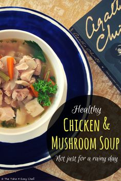 This chicken and mushroom soup is rustic hearty and comforting. It has all the lovely ingredients of a classic chicken soup with an added woodsy flavour from the mushrooms. Indian Food Recipes, Top Recipes, Easy Recipes, Ethnic Recipes, Sweets Recipes, Delicious Recipes, Yummy Food, Mushroom Soup Recipes, Cooked Carrots